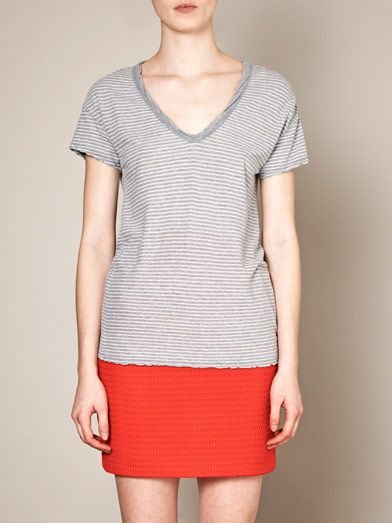 James Perse V-neck stripe T-shirt