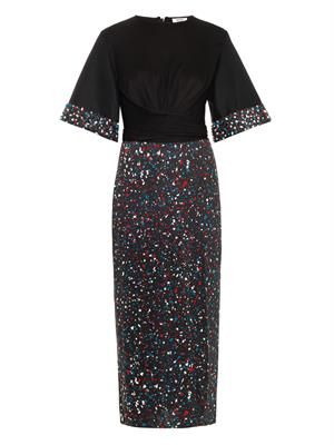 Lucy embellished-cuff silk-jersey dress