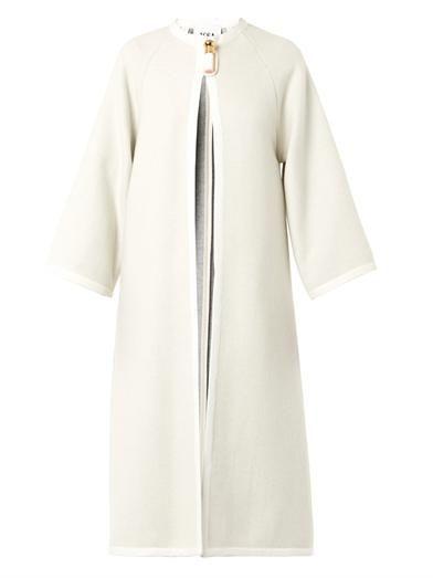 Issa Joan collarless wool-blend coat