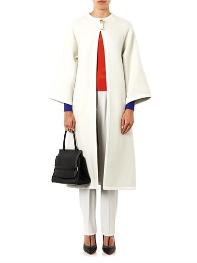 Issa Joan collarless wool-blend coat