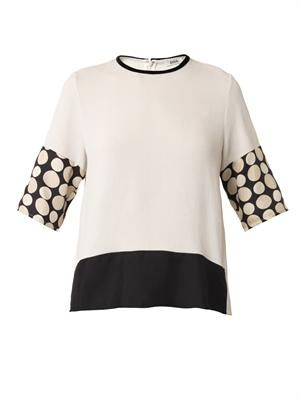 Sara contrast-panel blouse