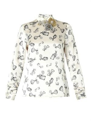 Mary perfume bottle-print satin top