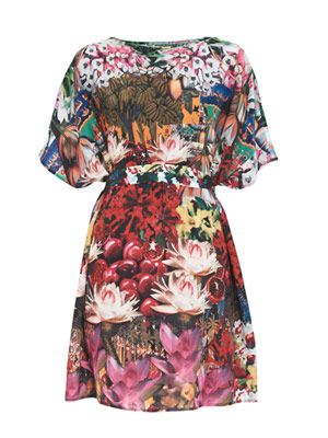 Floral-print crepe-de-chine dress