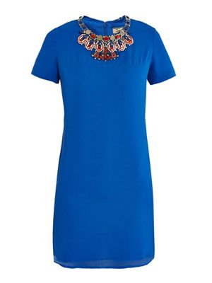 Beaded neckline shift dress