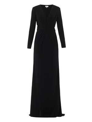 Gathered front full-length dress