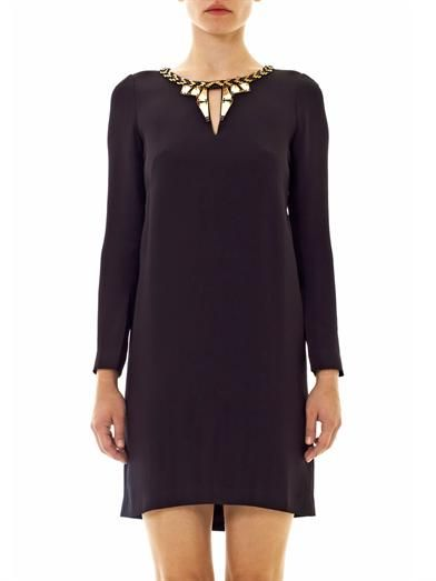 Issa Embroidered neckline dress