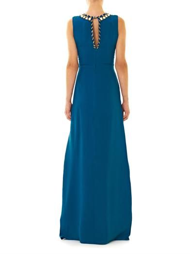 Issa Embroidered neckline silk gown
