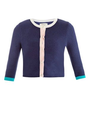 Colour-block cropped cardigan
