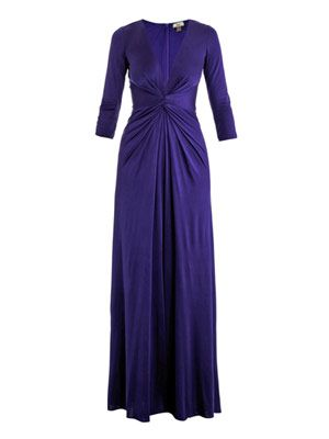 Gathered-front full-length dress
