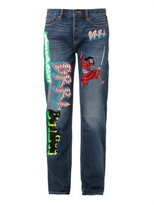 Stevie motocross-patch boyfriend jeans