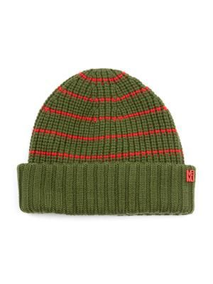 Striped merino-wool beanie hat