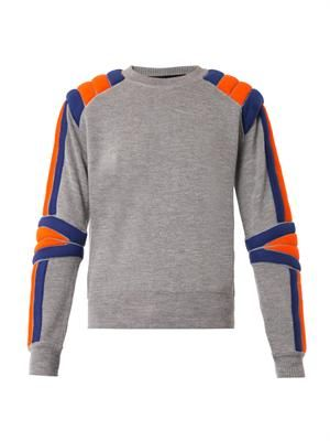 Motocross padded-stripe sweater
