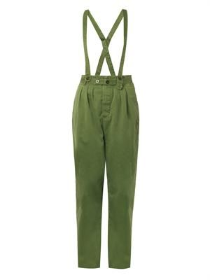 Detachable-braces cotton-canvas trousers