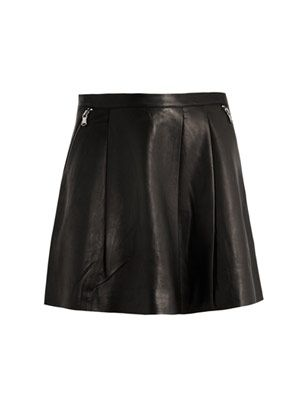 Leather box-pleat skirt