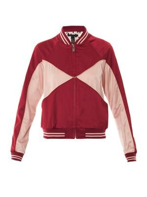 Bi-colour satin bomber jacket