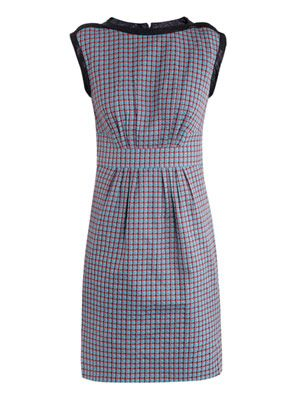 Clover-check sleeveless dress