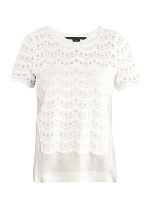 Tiered scalloped-lace T-shirt