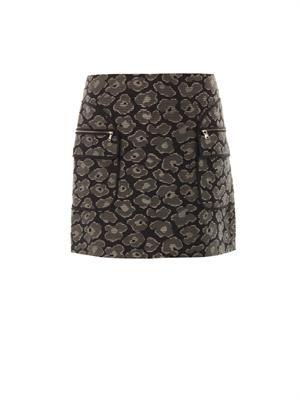 Leopard-jacquard cotton-blend skirt