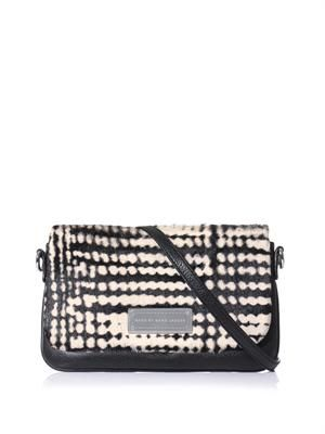Blurred ponyskin and leather cross-body bag