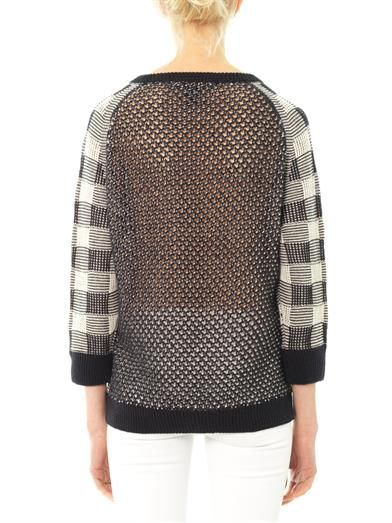 Marc by Marc Jacobs Check and mesh-knit sweater