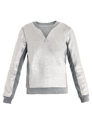 Metallic panelled sweatshirt