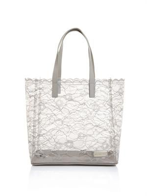 Lace and PVC tote bag