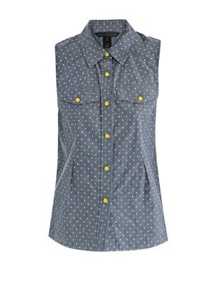 Fluro dot-print chambray top