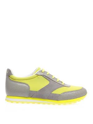 Neoprene & leather trainers