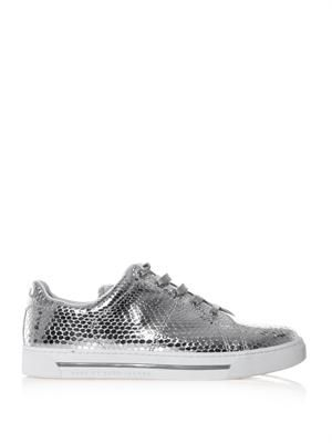 Metallic textured leather trainers