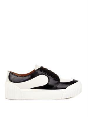Bi-colour leather trainers