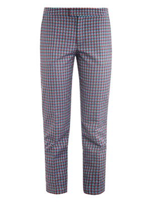 Clover check cropped trousers