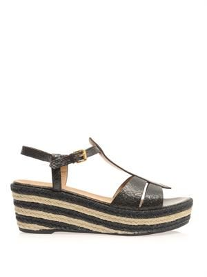 Cracked-leather wedge sandals