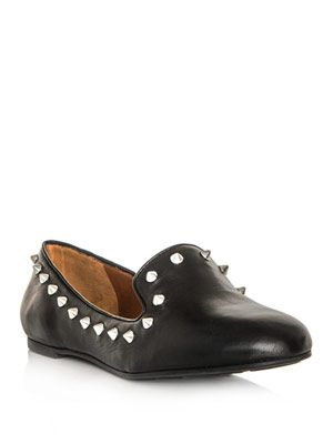 Studded leather slippers