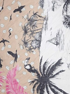 Tropical beach-print scarf