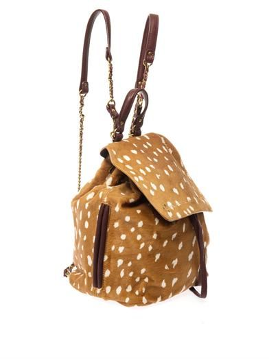 Jérôme Dreyfuss Florent Bambi-print calf-hair backpack