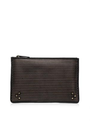 Popoche perforated-leather clutch
