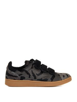 Leopard-print calf-hair trainers