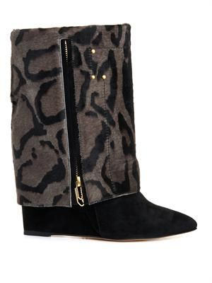 Calf-hair and suede wedge Biboots