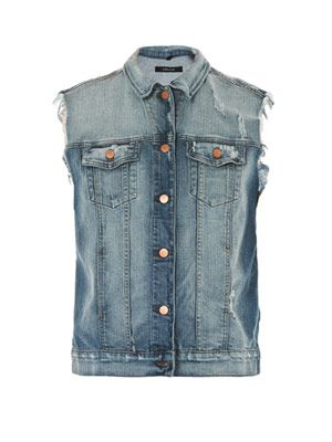 Riff distressed-denim gilet