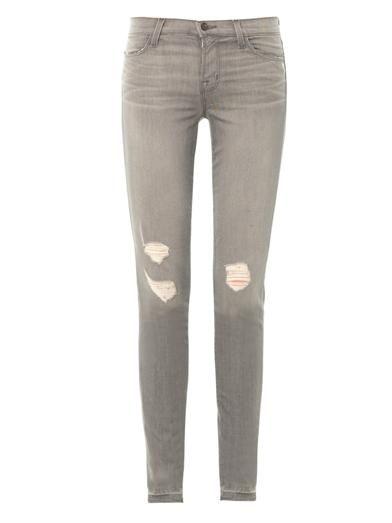 J Brand 620 mid-rise skinny-leg distressed jean