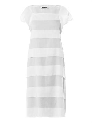 Sheer-stripe cotton dress