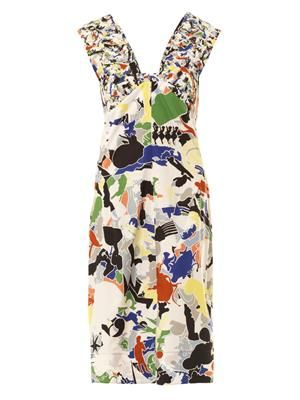 Fractured-print cotton dress