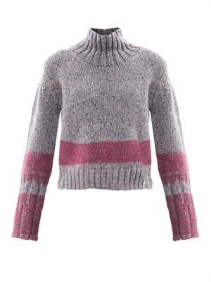 Needle-punch stripe mélange sweater