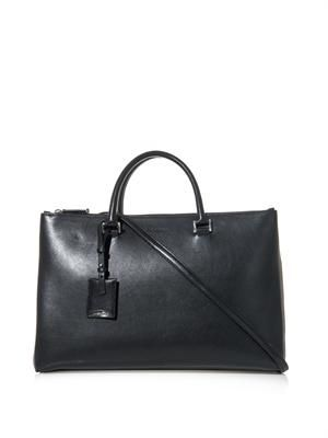 Double-zip leather tote