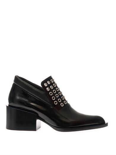 Jil Sander Mid-heel leather eyelet-detail loafers