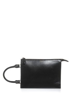Nizan shirt handle leather clutch