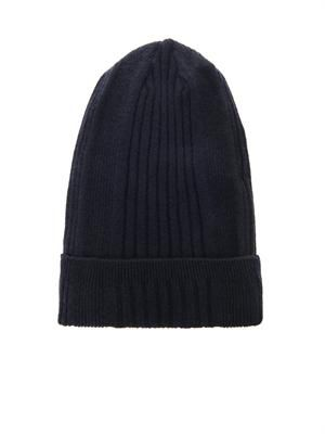 Cashmere ribbed-knit beanie hat