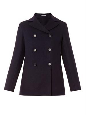 Wool and angora-blend pea coat