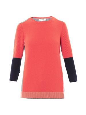 Cashmere colour-block sweater