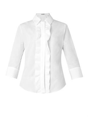 Susan ruffle-trim cotton shirt